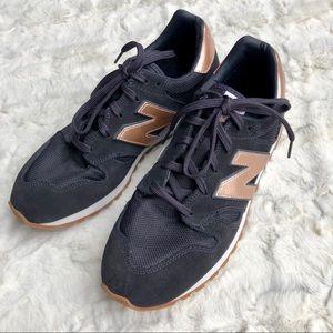 New Balance + J.Crew 520 Navy & Rose Gold Sneakers